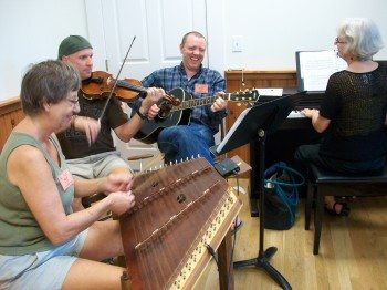 A Dance Musicians' Week band plays in the Music Studio.