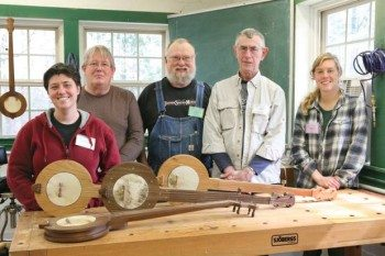 Students can learn to make their own muical instruments. This group completed a five-day traditional banjo-making class. (From the article in the Dallas Morning News)