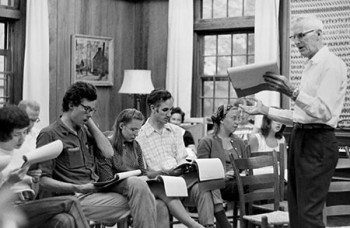Shape Note Singers with Richard Moss in the Keith House at the Folk School, 1978