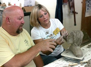 Mike Lalone teaches figurative sculpture in the Clay studio.