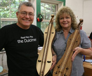 Happy with their final Mountain Dulcimers created in John Huron's class.