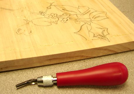 Holly Board and Carving Tool