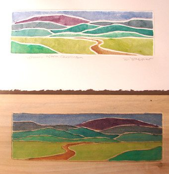 """Landscape"" Block and Print by Sandy Webster instructor of ""White-line Printmaking"" January 5-11, 2014"