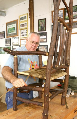 Student adds a seat to his rustic chair