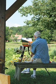 Capture the beauty of the Folk School Campus with in oil paint.