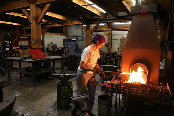 Come see blacksmiths in action forging items in the Clay Spencer Blacksmith Shop on October 31 at 7 p.m. Items created will be auctioned off the following day.