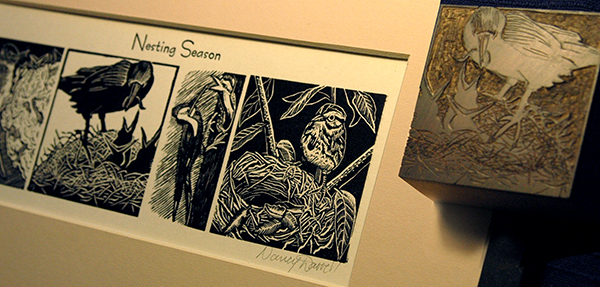 Wood Engraved print and block project by Nancy Darrell created in Jim Horton's Folk School class