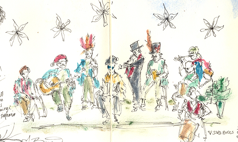 The Brasstown Morris Dance Band sketched by Sara Boggs.