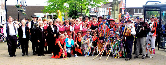 The Brasstown Morris Teams in England. Carl and trombone are on the far left.