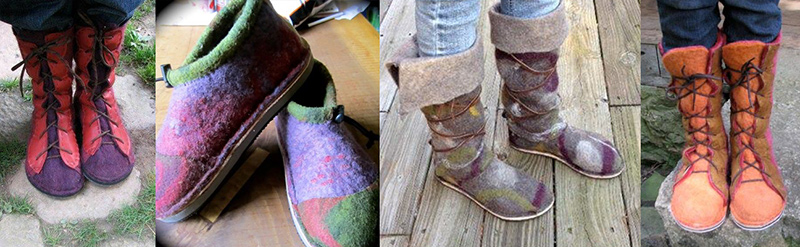 A variety of felted footwear created in Kay and Peggy's class.