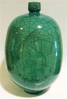 Raku bottle by Rick Berman