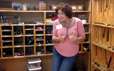 Leanne enjoys the vast supply closet in the Jewelry Studio.