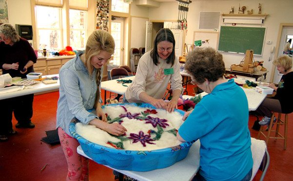 Felted Rug Class with Becky Walker in the Wet Room