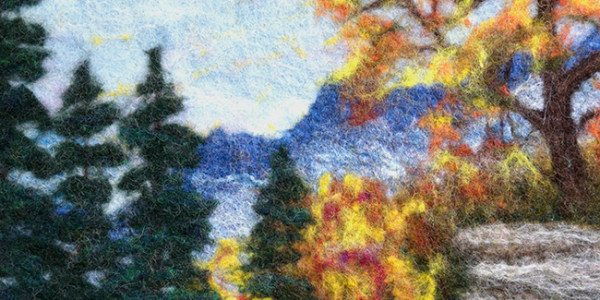 "Detail of felted landscape, ""Fall in the Mountains,"" by Lorraine Cathey"