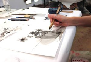 Drawing with a brush