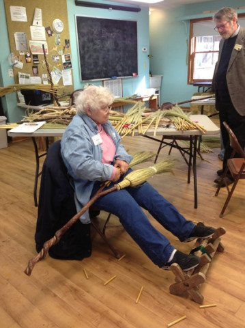 One of our advanced broom making students works on a double broom, traditionally used for weddings