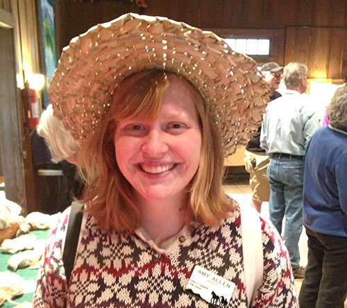 Amy wears the Bulrush hat she made in Jan Stansell's hat making class on Apr 12-14