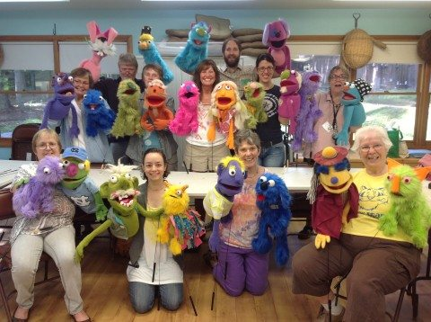 Here's the entire class with their completed puppets!