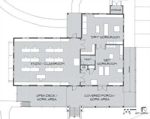 Floor plan of the new Book and Paper Arts Studio by Harris Architects.