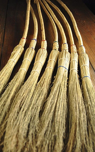 Handmade Plaited Appalachian Cobweb Brooms by Mark Hendry (Photo courtesy of Organic Artist Tree)
