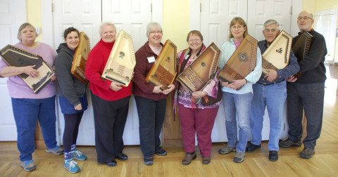 """Intermediate to Advanced Autoharp"" Class at the FOlk School, taught by Karen Mueller Jan 12-17, 2014."