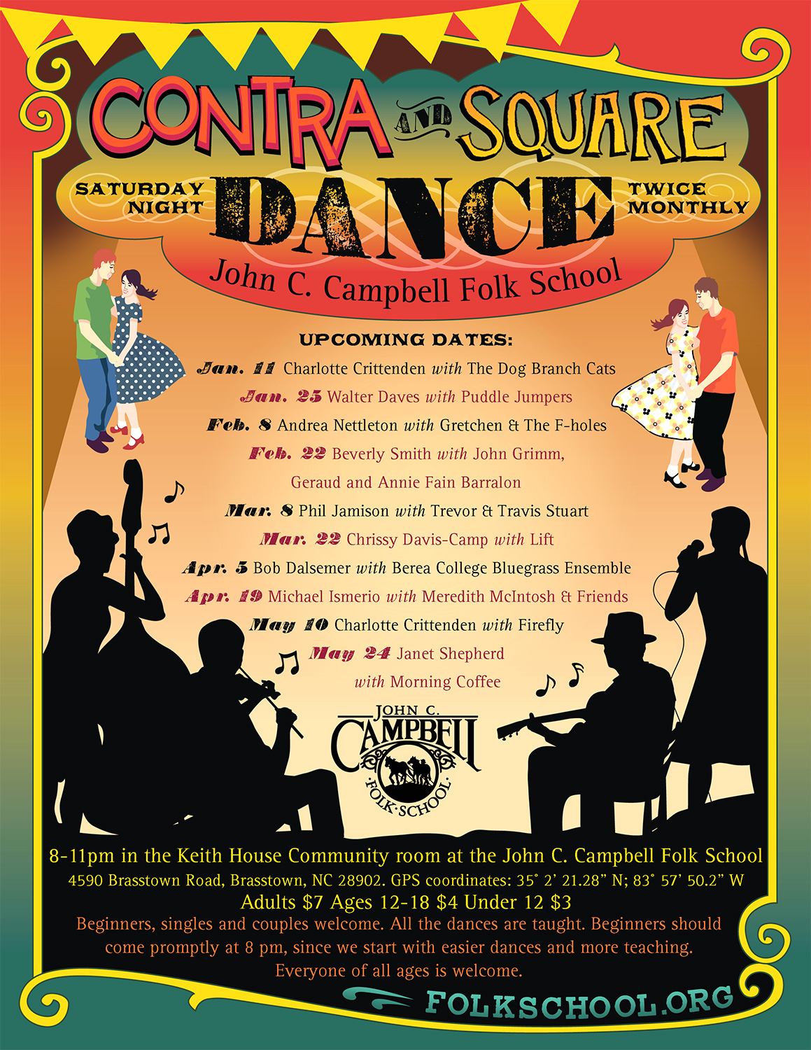 Saturday Night Community Dance Calendar