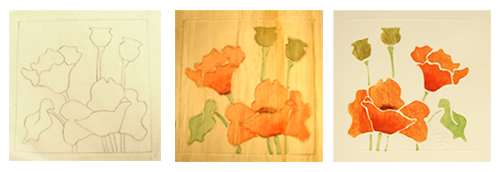 """White-line Printmaking"" Process: Poppy Line Drawing, Poppy Board, Poppy Print"