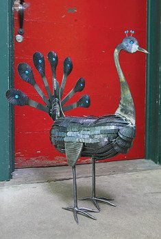 Recycled metal bird