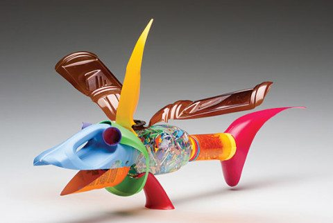 A whimsical sculpture made from an assortment of recycled plastics by David Edgar
