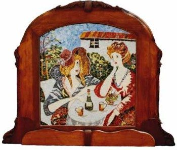 Lunching Ladies (broken china, stained glass) by Jennifer Freeman