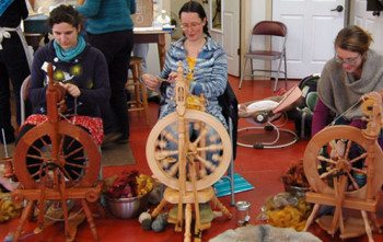 Leah, Allison, and Bonnie in Martha Owen's class, From Sheep to Shawl.