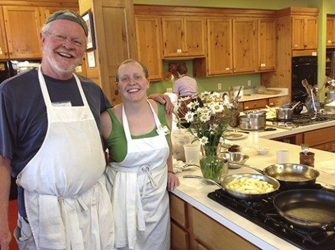 Amy Allen and her dad in the Cooking Studio