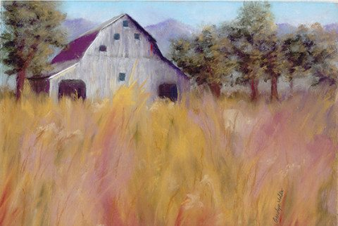 """Barn in Field"" pastel by Carolyn Molder"