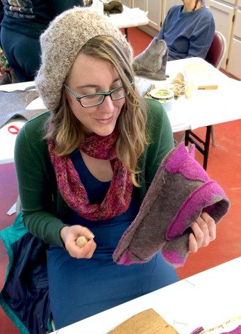 Bonnie works on her felted shoe.