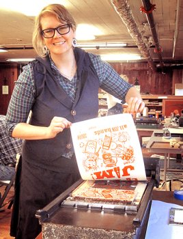 Yours truly, Cory Marie, pulling a poster print in Jim's poster making class