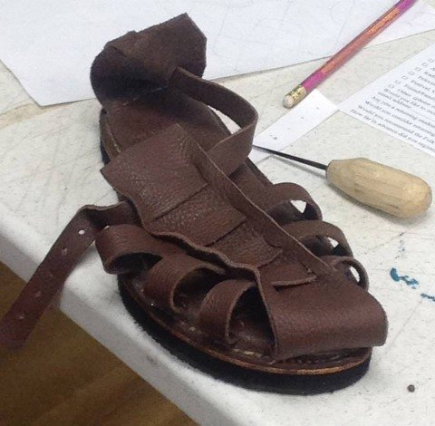 Leather sandal created in Chuck & Peggy's class.
