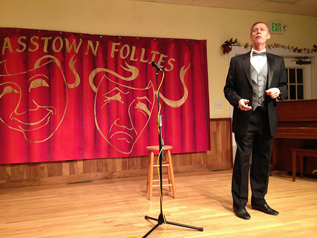 Master of Ceremonies, Carl Dreher, kicks off Brasstown Follies. We bet he has some tricks, if not a rabbit up his sleeves.
