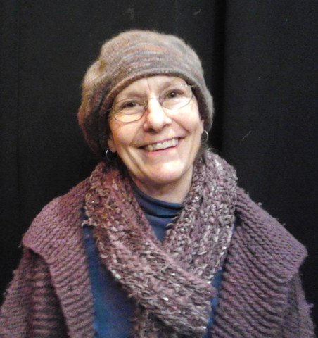 Becky made her knit hat. Her scarf and sweater were made by fellow fiber enthusiast, Sally Blankenship.