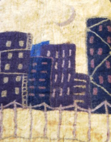 Felted Rug with City Motif