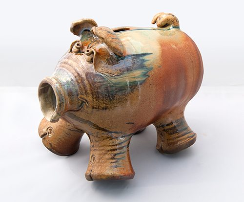 Piggy Bank by Rob Withrow, Wood Fired at Smoke in the Mountains.