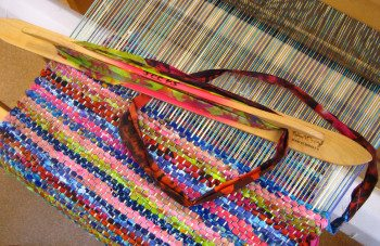 colorful rag runner woven with quilt fabric scraps