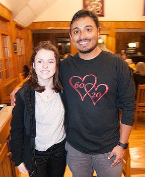 Hannah & Prash in the Dining Hall. Notice Prash's 60/20 commemorative shirt!