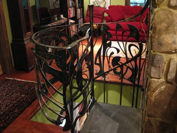 Unchained Melody spiral staircase railing in the Forsyth home.