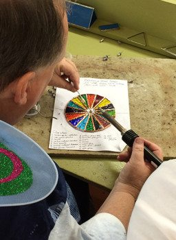 David works on a kaleidoscope project in the Jewelry Studio.