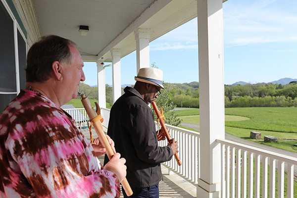 David and Preston in flute class on the Music Studio Porch, Davidson Hall.