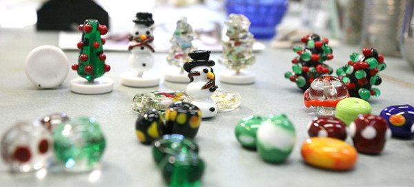 A variety of beads from Judy's holiday-themed glass bead class in 2014.