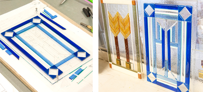 Fused glass panels inspired by Karen Llyod Wright.