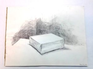 Pencil drawing of a block