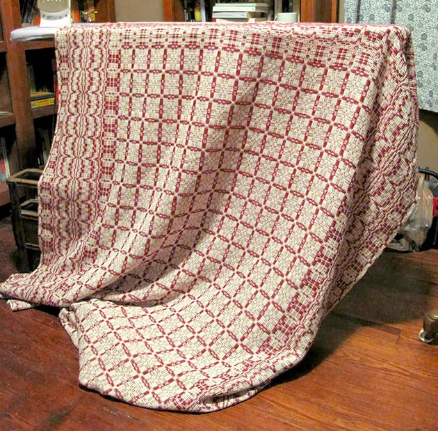 "Not only is Maggie a fantastic chef, she is an accomplished fiber artist. Check out this beautiful woven ""Lee's Surrender"" blanket."