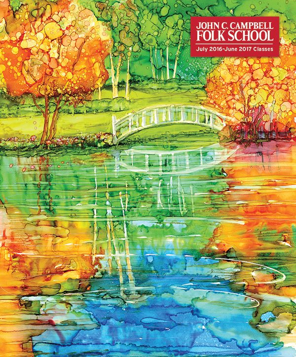 """Special thanks for our cover, """"Monet Bridge,"""" an alcohol ink painting by instructor Teri Jones. Check out her upcoming class: Alcohol Inks - An Illusion of Control."""